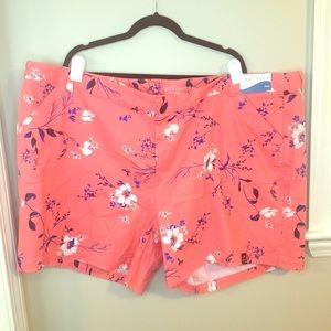 Boutique+ coral floral twill shorts